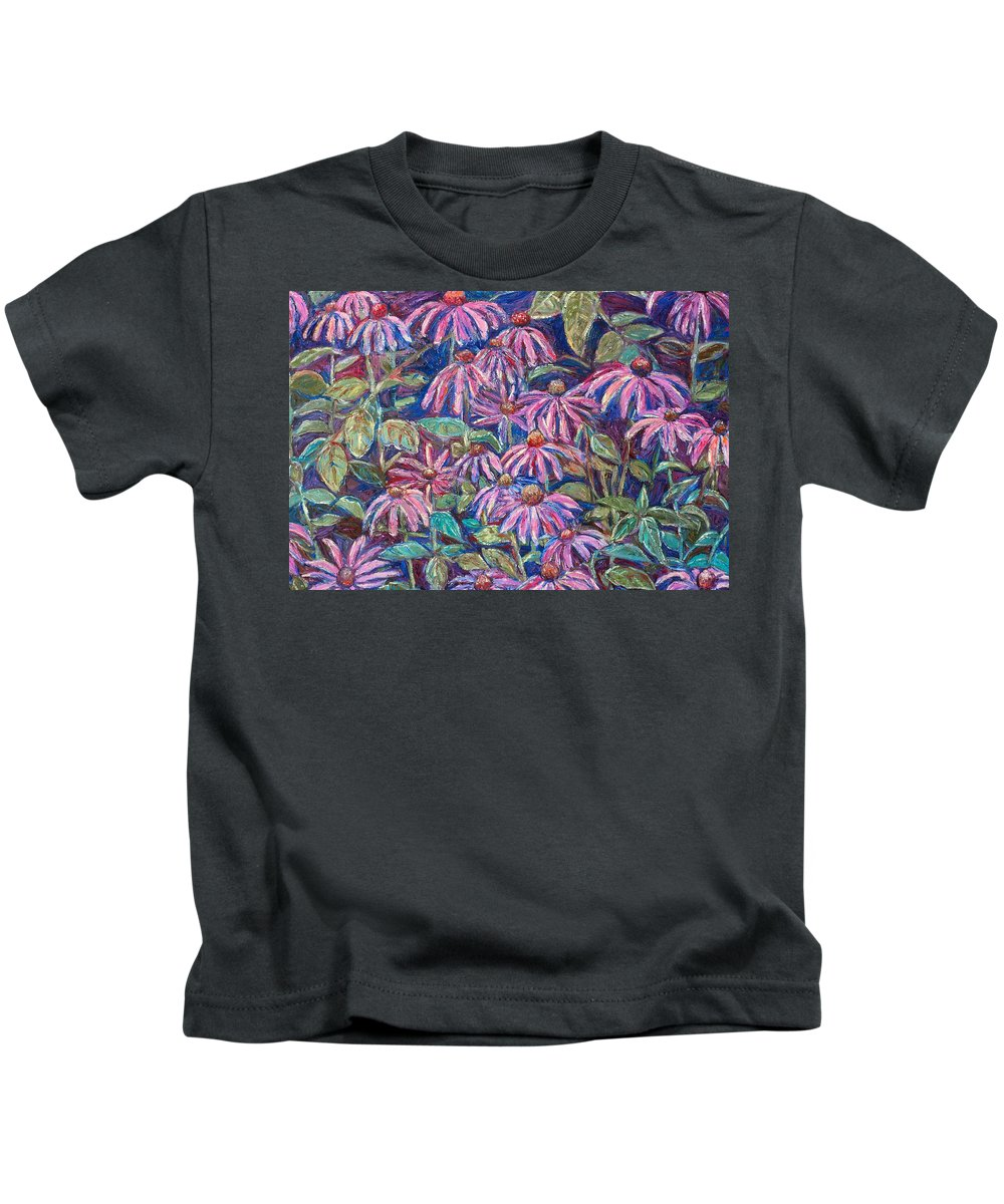 Coneflowers Kids T-Shirt featuring the painting Dancing Coneflowers by Kendall Kessler