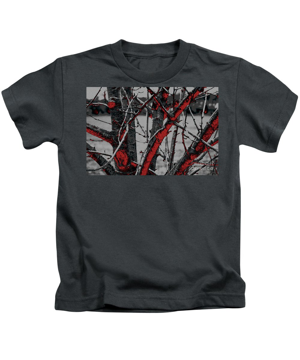 Dark Kids T-Shirt featuring the digital art Dark Branches by Carol Lynch