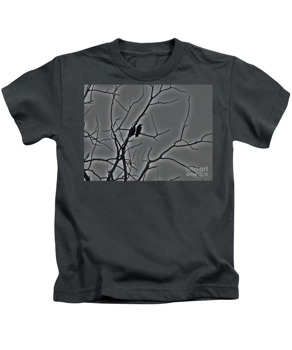 Bird Kids T-Shirt featuring the digital art Dark Day Birds by Minding My Visions by Adri and Ray