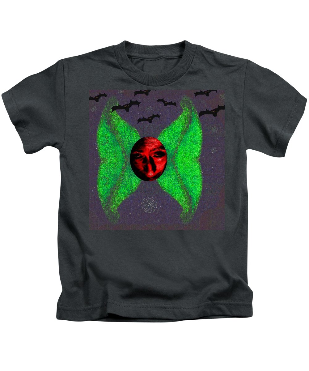 Angel Kids T-Shirt featuring the mixed media Dark Fallen Angel by Pepita Selles