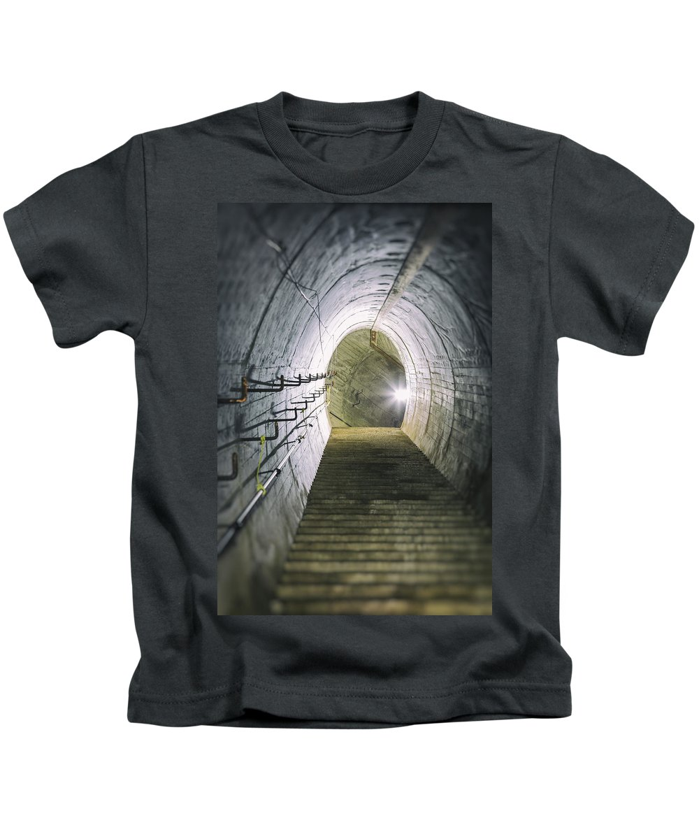 Decay Kids T-Shirt featuring the photograph Dark Tunnel And Staircase by Russ Dixon