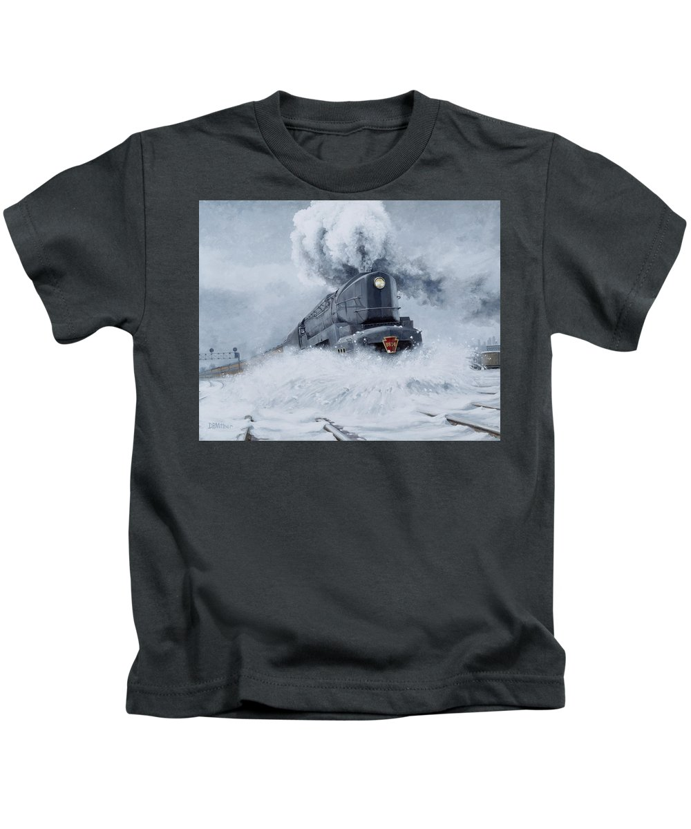 Trains Kids T-Shirt featuring the painting Dashing Through The Snow by David Mittner
