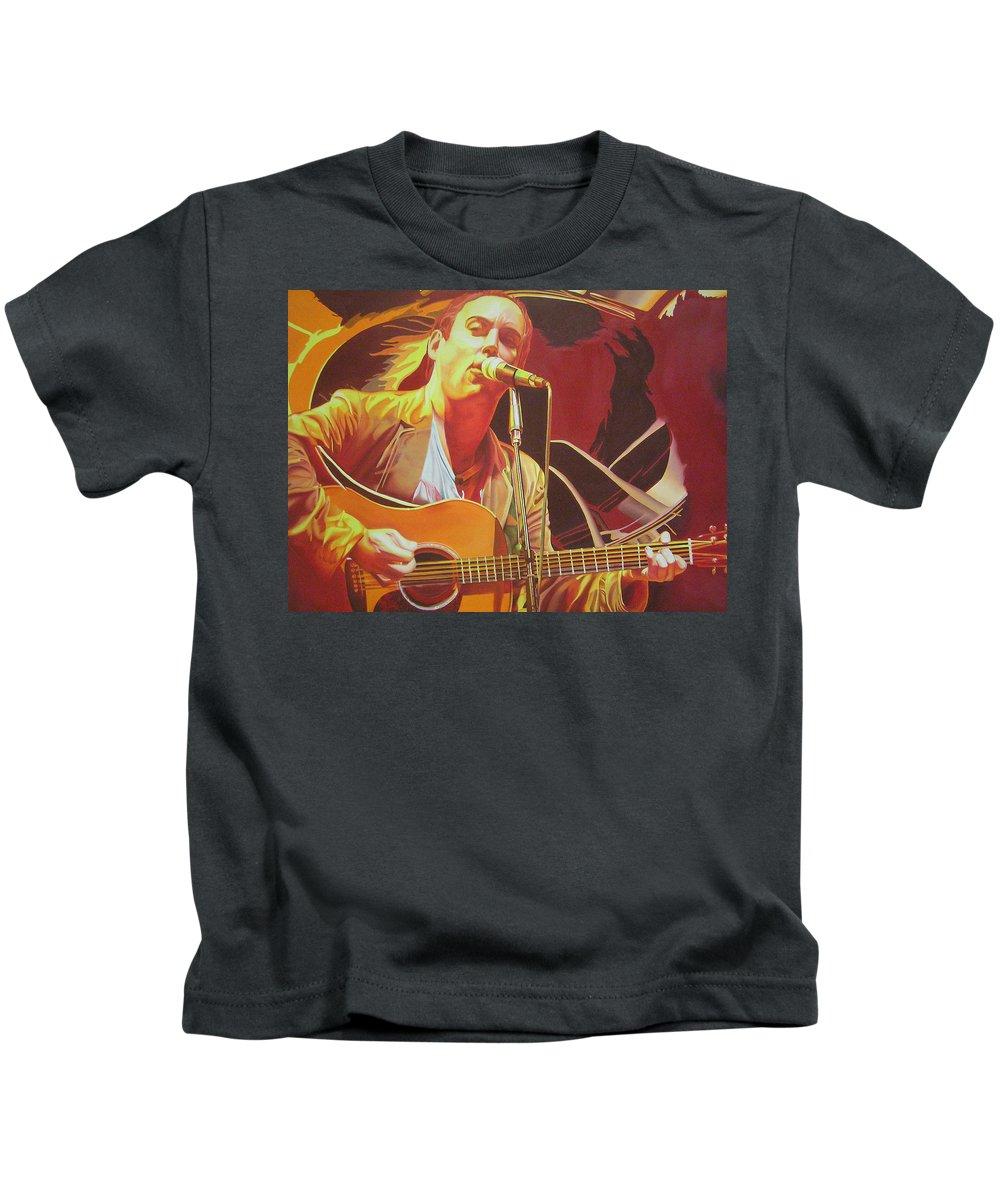 Dave Matthews Kids T-Shirt featuring the painting Dave Matthews At Vegoose by Joshua Morton