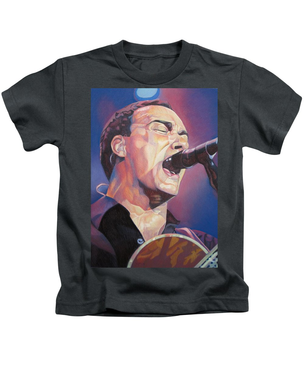 Dave Matthews Kids T-Shirt featuring the drawing Dave Matthews Colorful Full Band Series by Joshua Morton