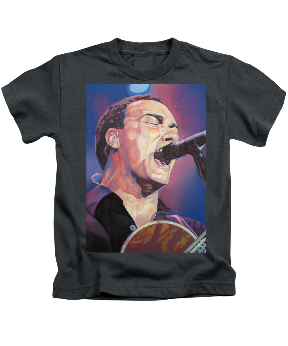 Dave Matthews Kids T-Shirt featuring the drawing Dave Matthews Colorful Full Band Series by Joshua Morton