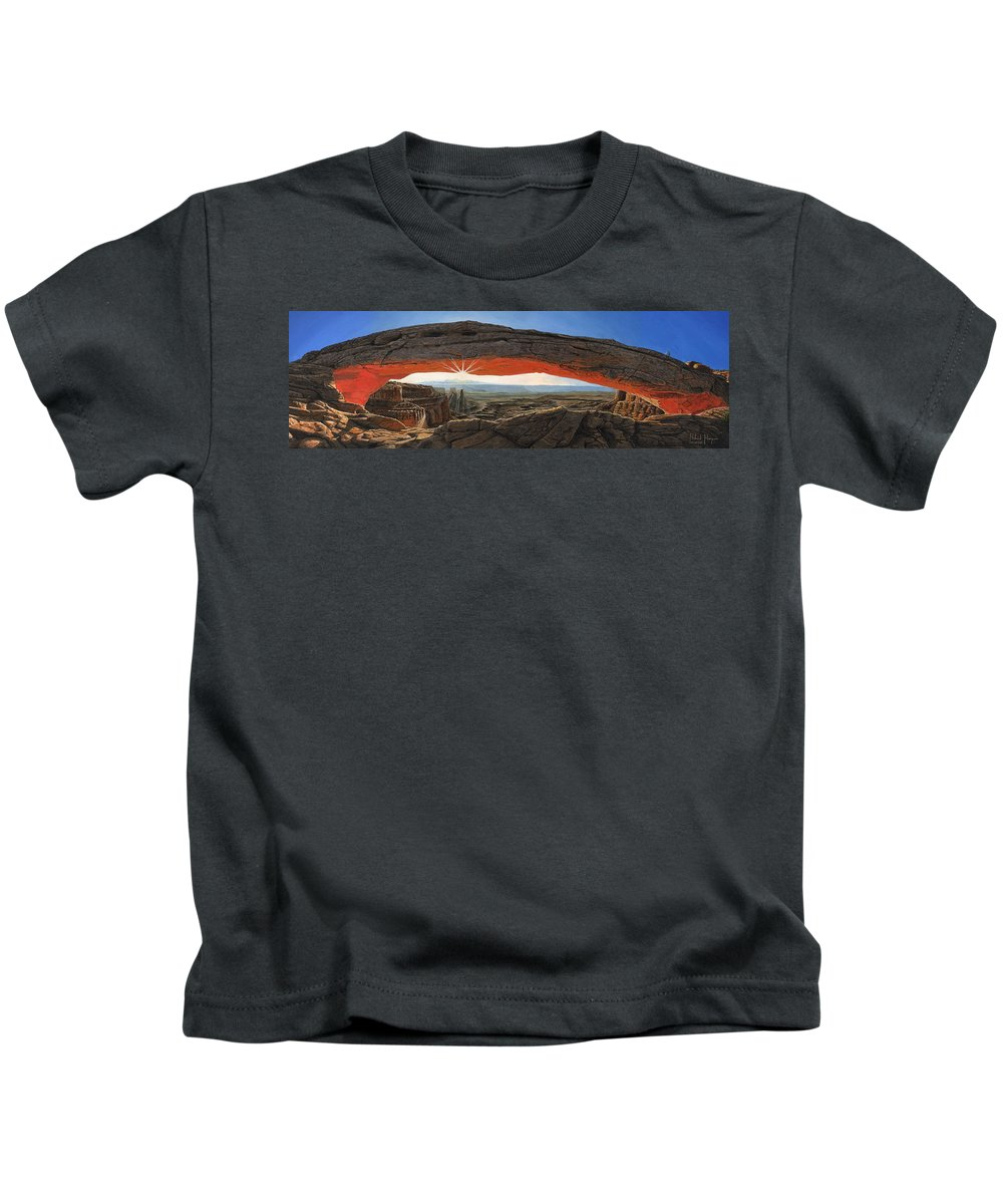 Mesa Arch Kids T-Shirt featuring the painting Dawn At Mesa Arch Canyonlands Utah by Richard Harpum