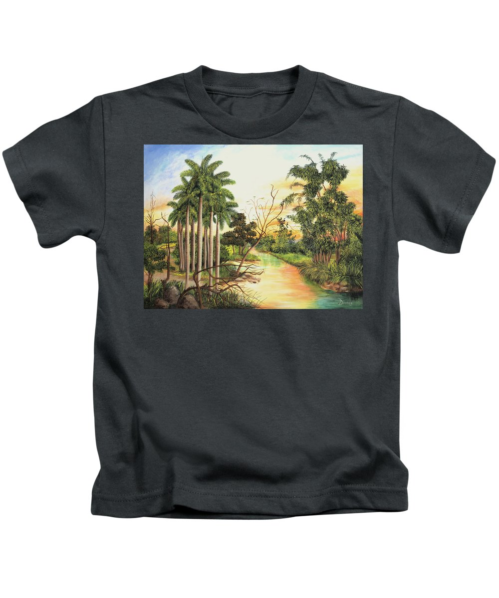 Wood Kids T-Shirt featuring the painting Dawn by Dominica Alcantara
