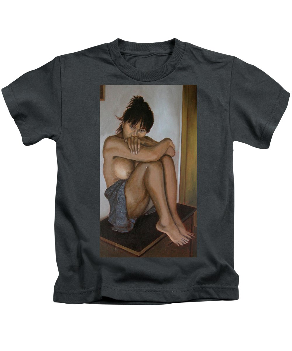 Figure Kids T-Shirt featuring the painting Deep In Thought by Thu Nguyen