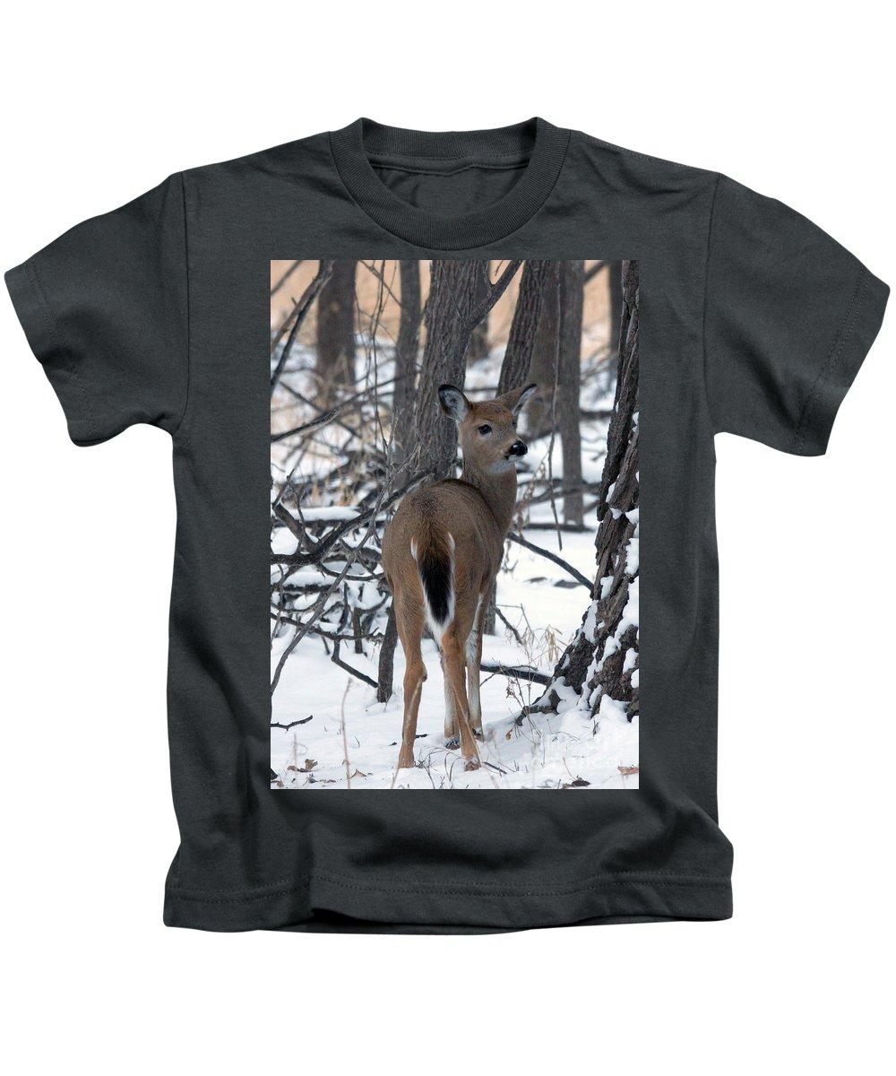 Deer Kids T-Shirt featuring the photograph Deer In The Grove by Lori Tordsen