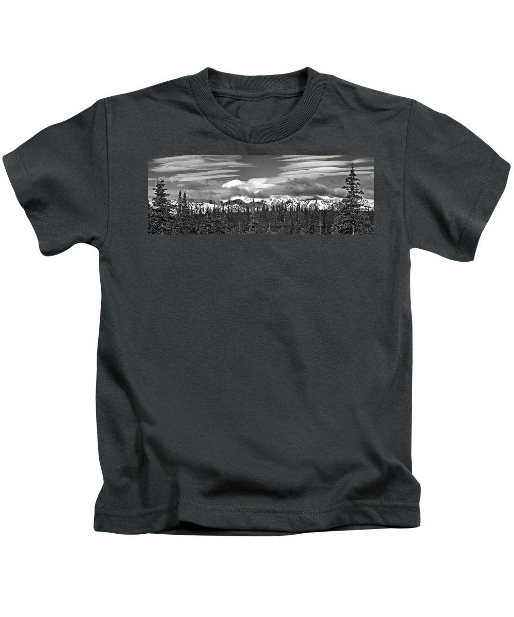 Denali Kids T-Shirt featuring the photograph Denali In Clouds by Angie Schutt