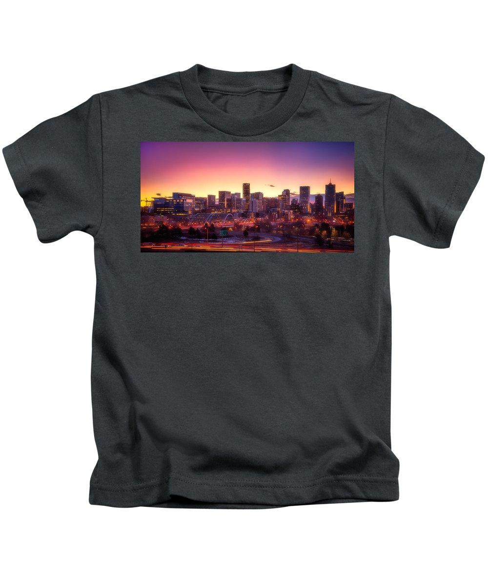 Denver Kids T-Shirt featuring the photograph Denver Sunrise by Darren White