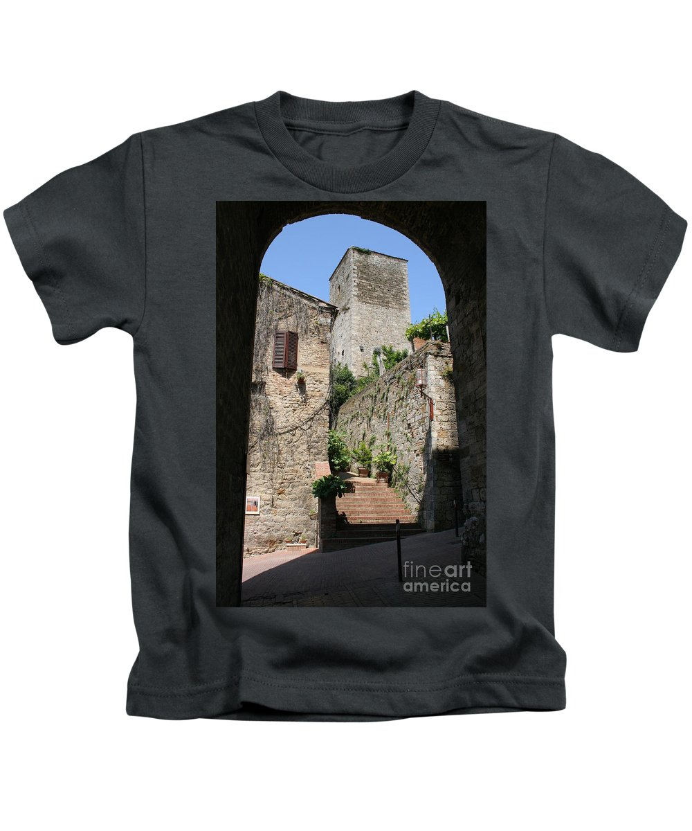 Way Kids T-Shirt featuring the photograph Desert Alley In San Gimignano by Christiane Schulze Art And Photography