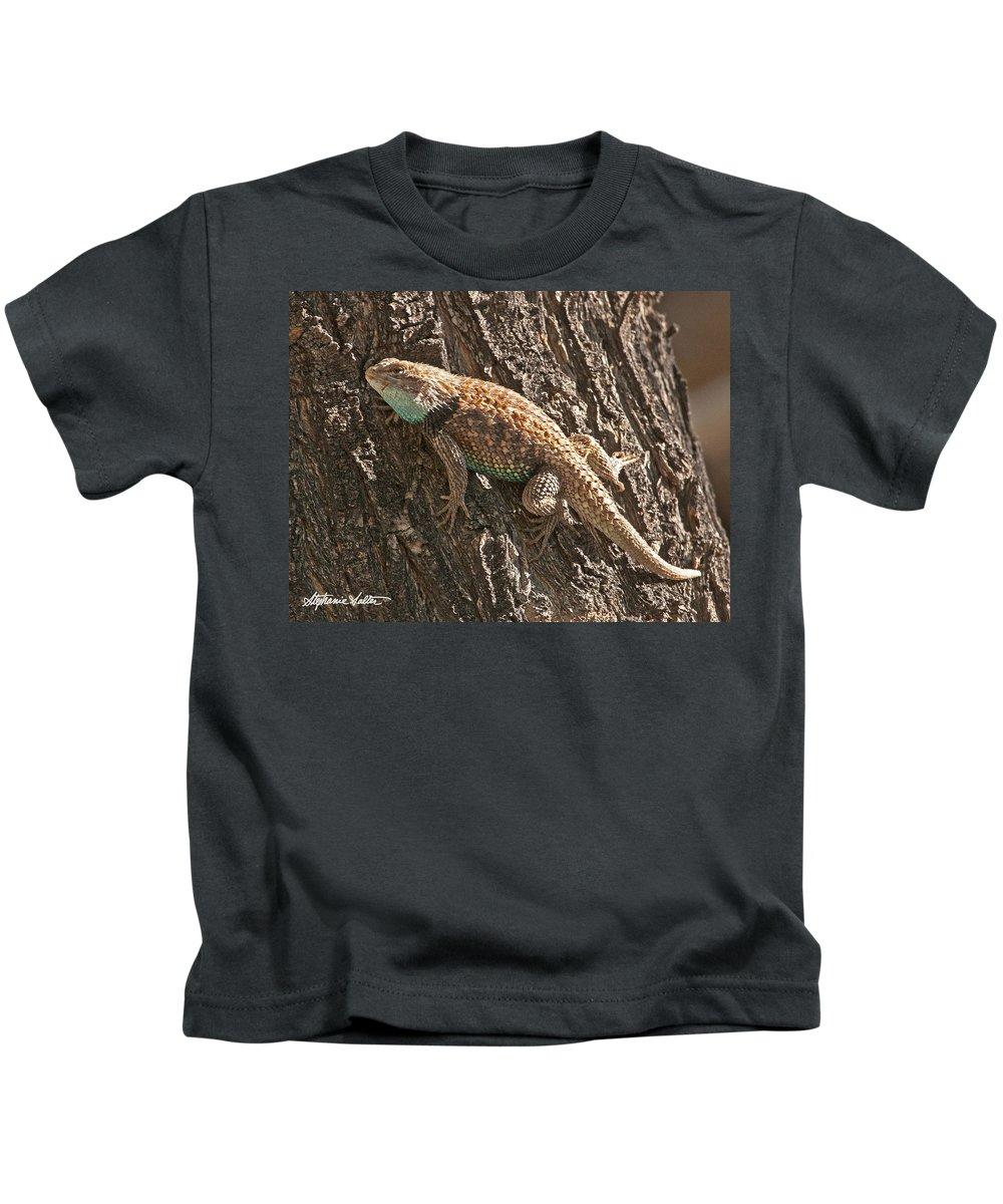 Wildlife Kids T-Shirt featuring the photograph Desert Spiny Lizard by Stephanie Salter