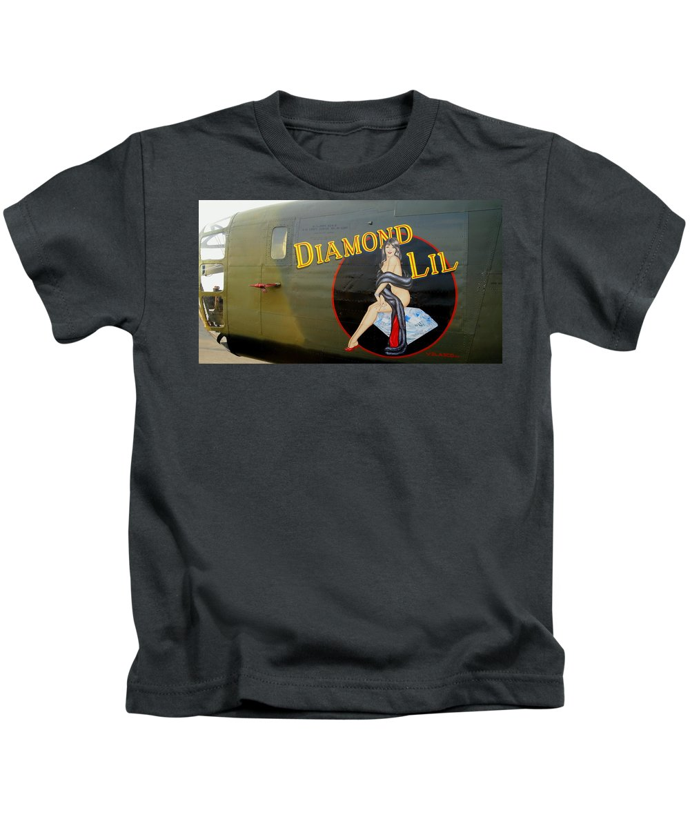 Aircraft Kids T-Shirt featuring the photograph Diamond Lil B-24 Bomber by Amy McDaniel
