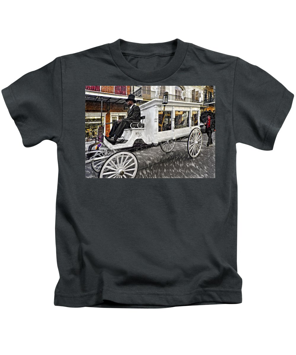 French Quarter Kids T-Shirt featuring the photograph Dignified Departure Paint 2 by Steve Harrington