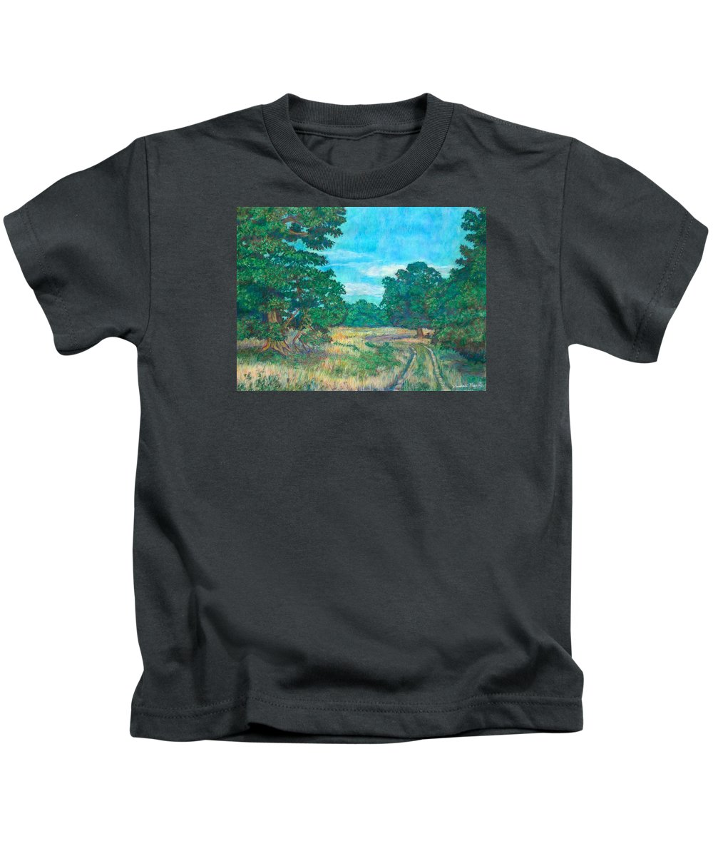 Landscape Kids T-Shirt featuring the painting Dirt Road Near Rock Castle Gorge by Kendall Kessler
