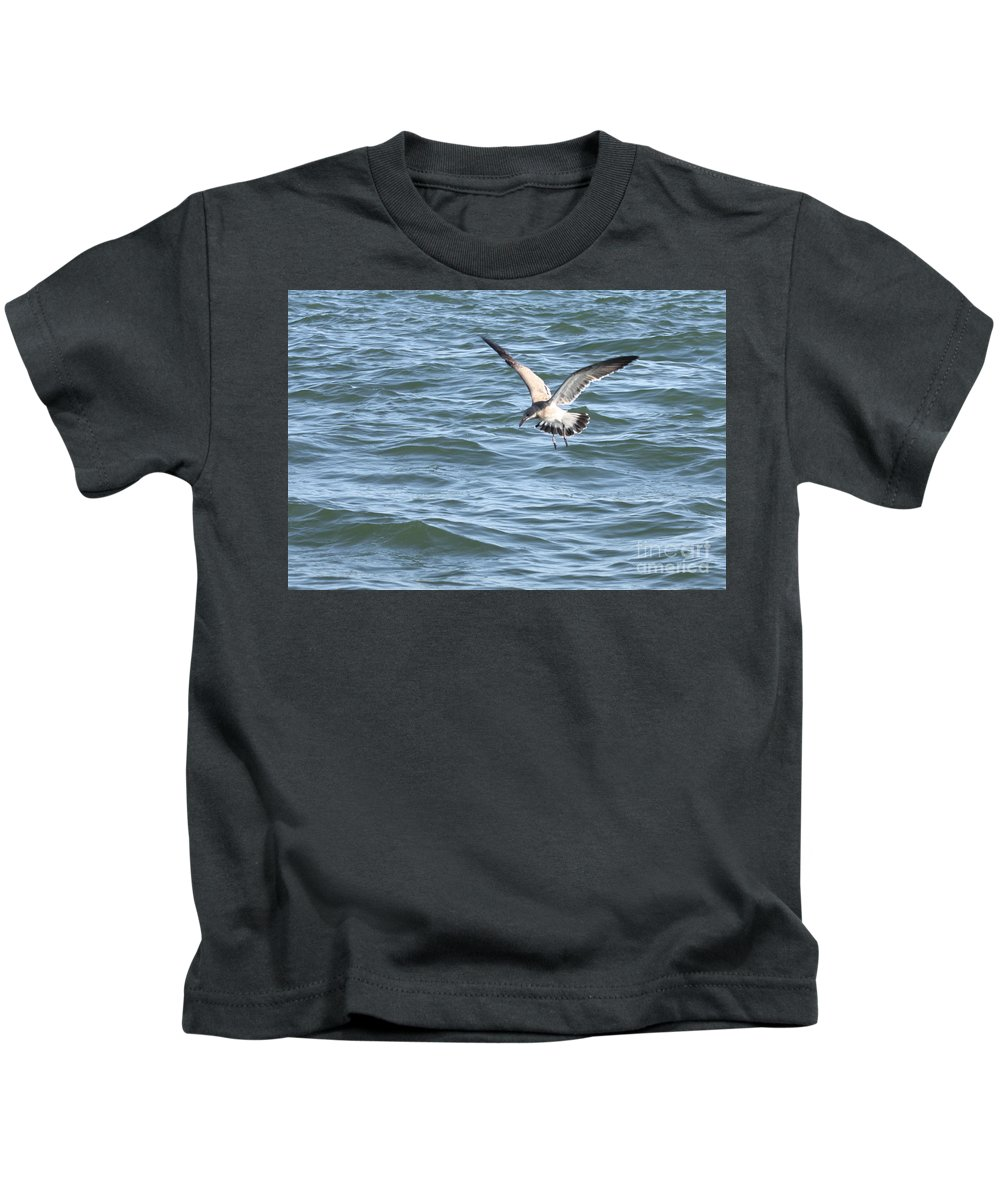 Diving For A Bite To Eat Kids T-Shirt featuring the photograph Diving For A Bite To Eat by John Telfer