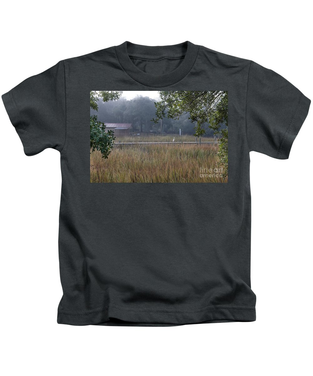 Egret Kids T-Shirt featuring the photograph Dock Side Fog by Dale Powell
