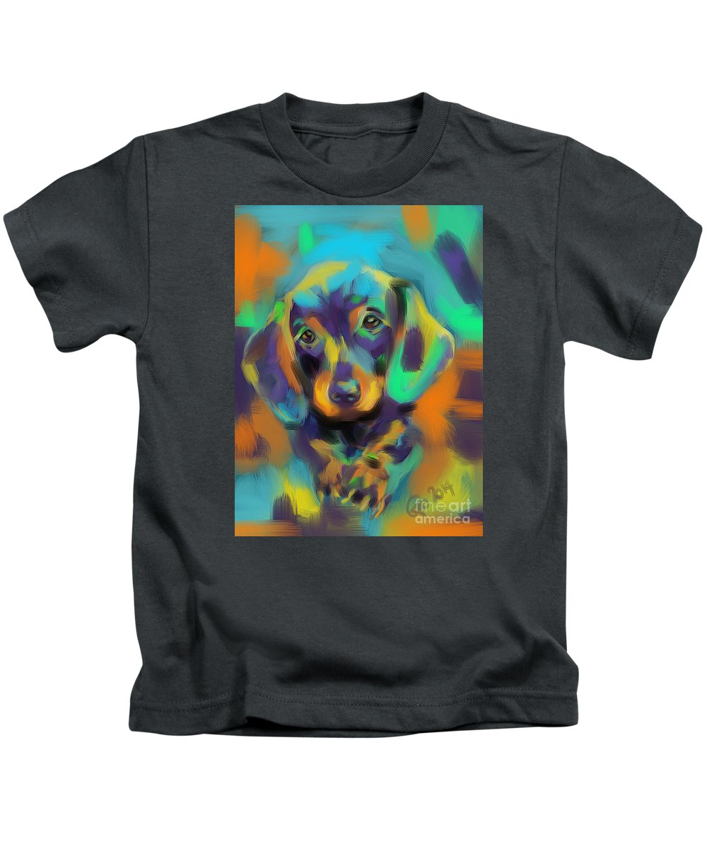 Dog Kids T-Shirt featuring the painting Dog Bobby by Go Van Kampen