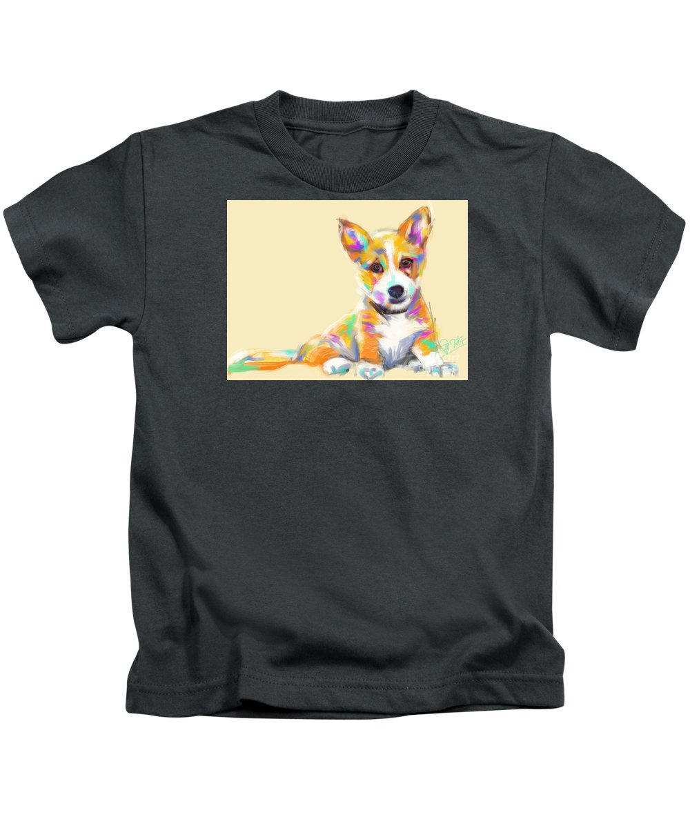 Dog Kids T-Shirt featuring the painting Dog Jerry by Go Van Kampen