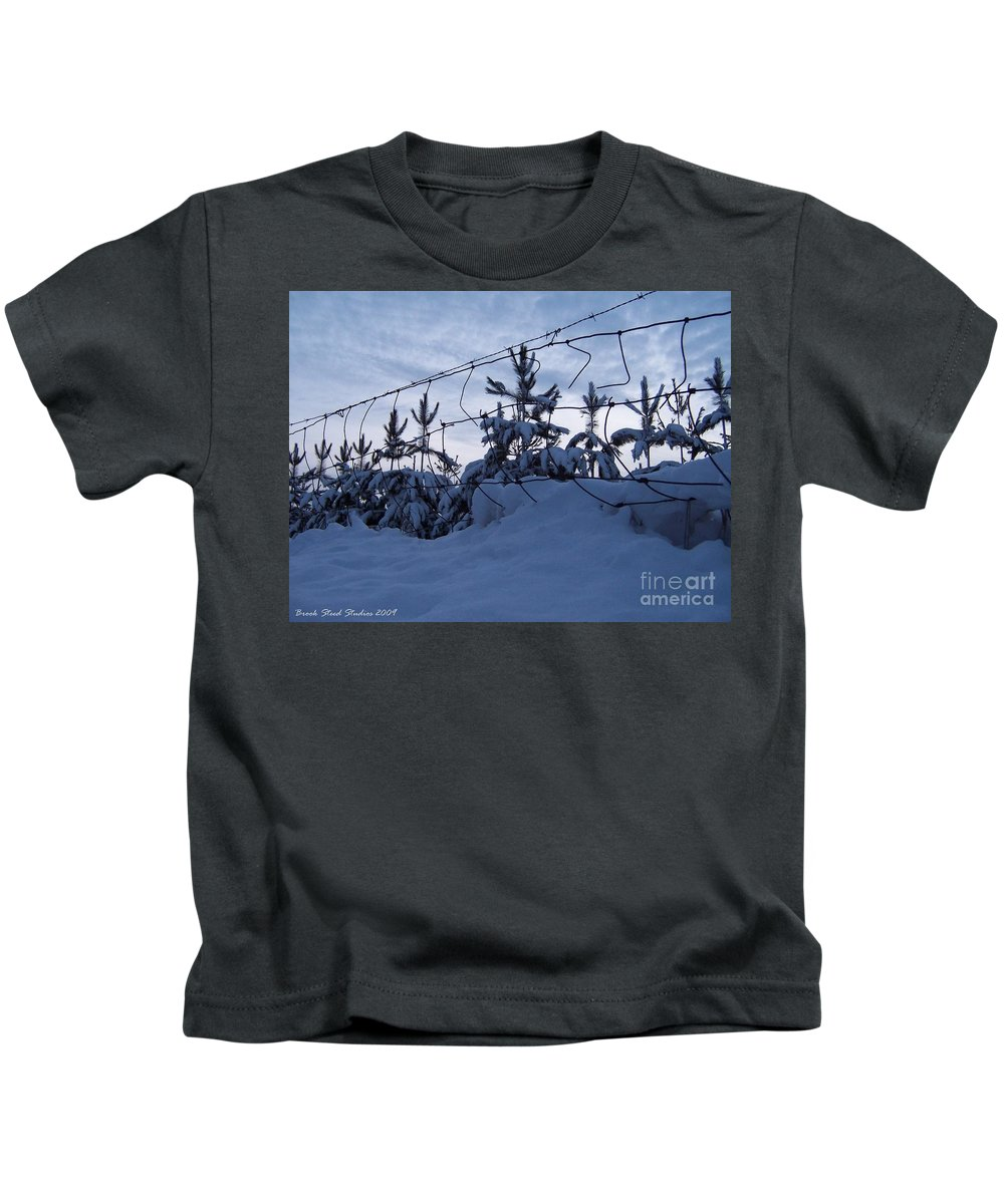 Winter Kids T-Shirt featuring the photograph Don't Fence Me In by Brook Steed