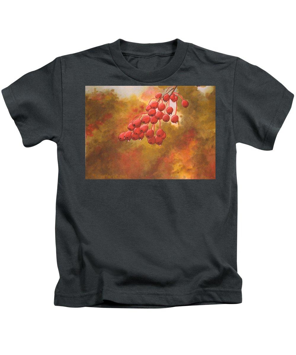 Rick Huotari Kids T-Shirt featuring the painting Door County Cherries by Rick Huotari
