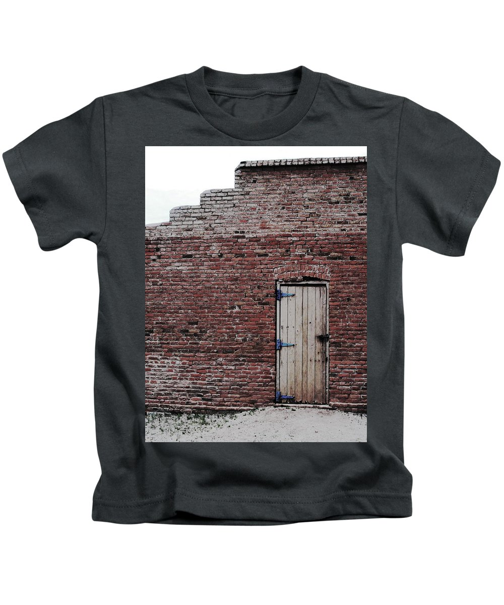 Wooden Door Kids T-Shirt featuring the photograph Door To Outside by Natalie Ortiz