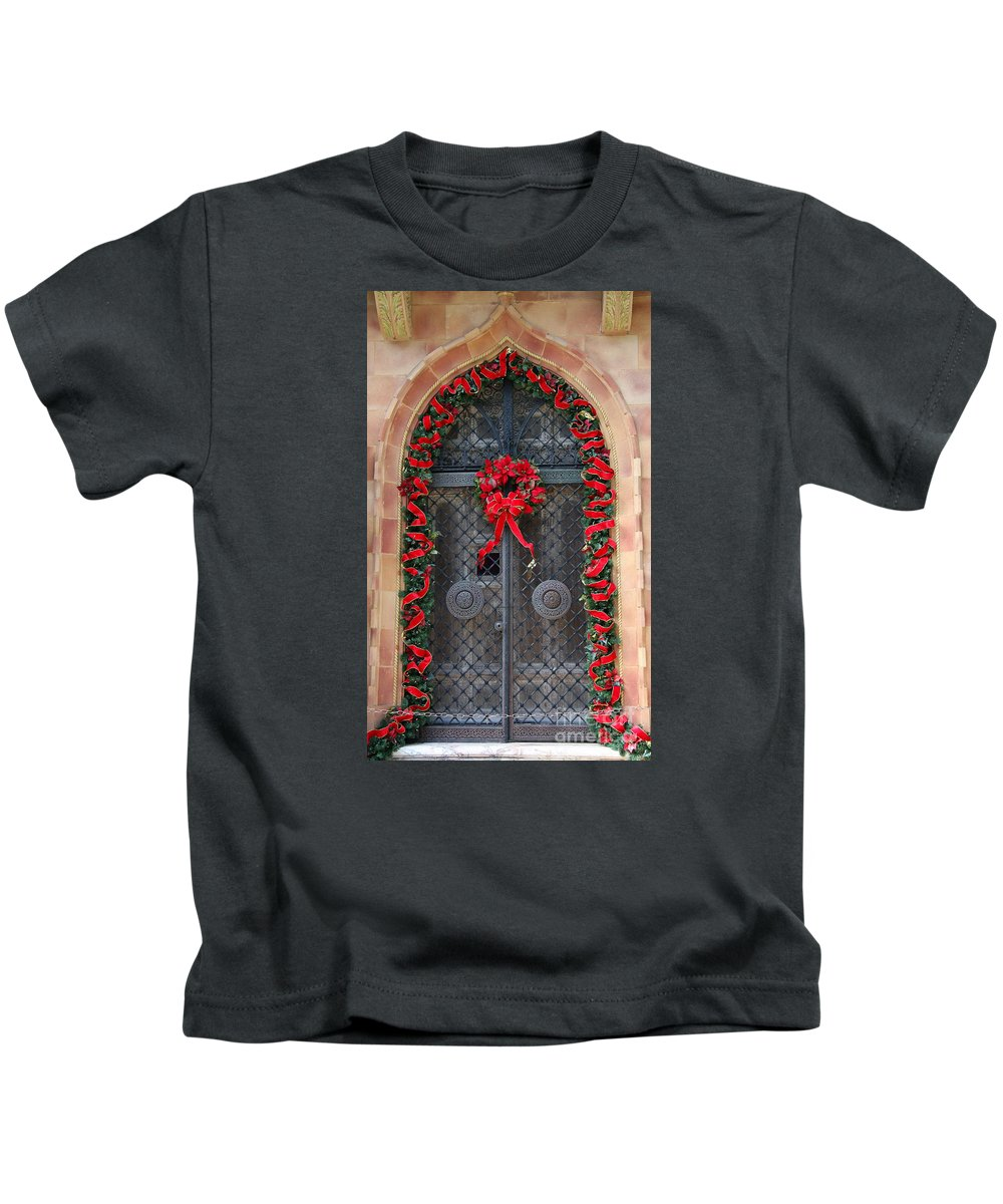 Christmas Door Kids T-Shirt featuring the photograph Door With Christmas Decoration by Christiane Schulze Art And Photography