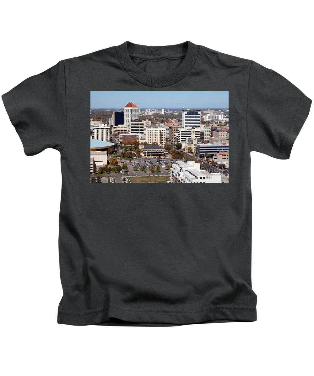 Aerial Kids T-Shirt featuring the photograph Downtown Wichita by Bill Cobb
