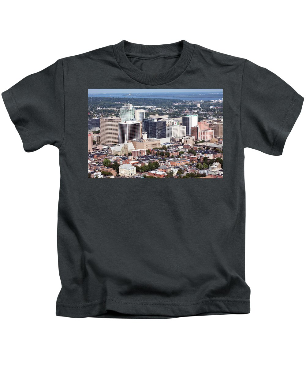 Aerial Kids T-Shirt featuring the photograph Downtown Wilimington by Bill Cobb