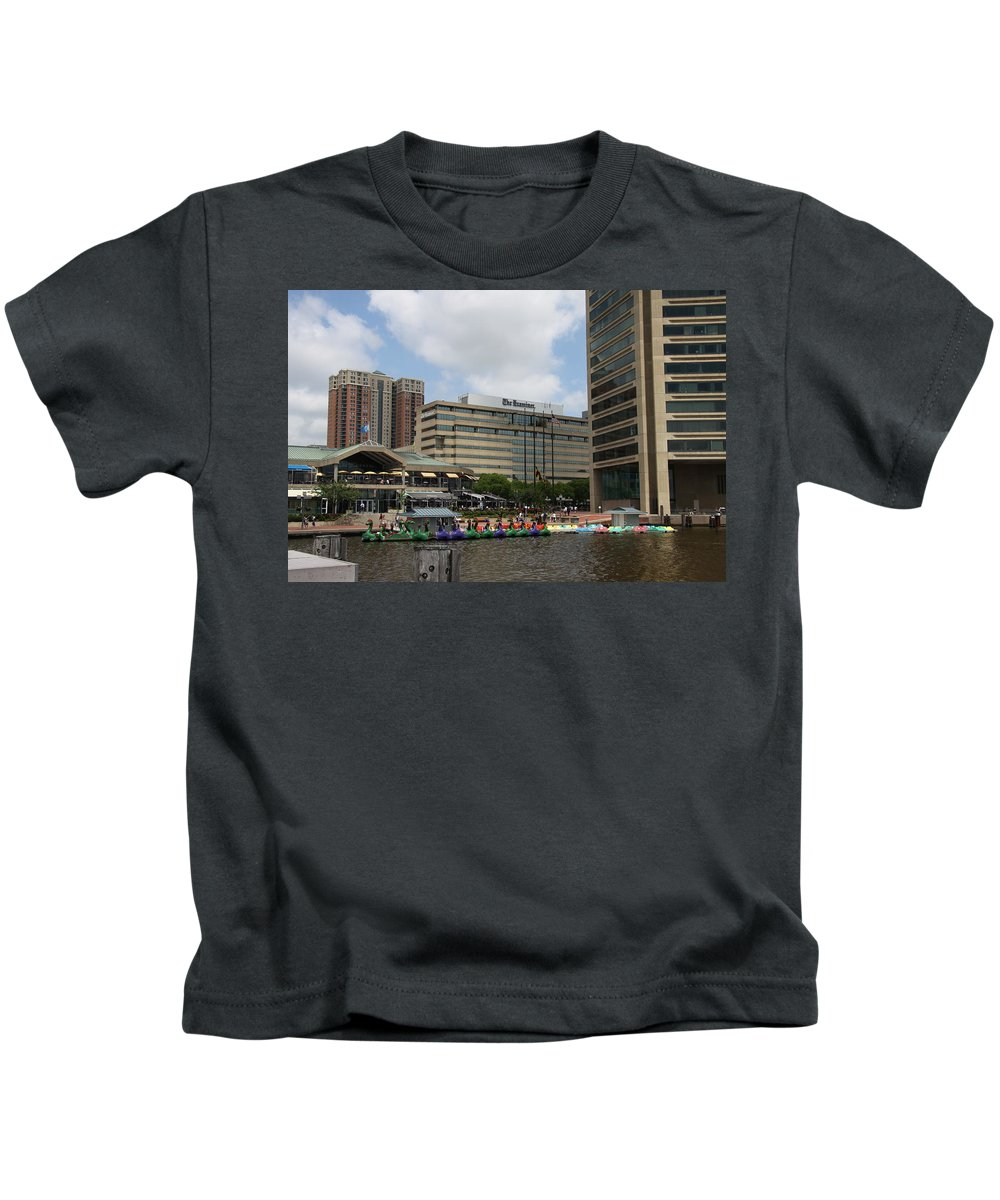 Boats Kids T-Shirt featuring the photograph Dragonboats - Inner Harbor Baltimore by Christiane Schulze Art And Photography