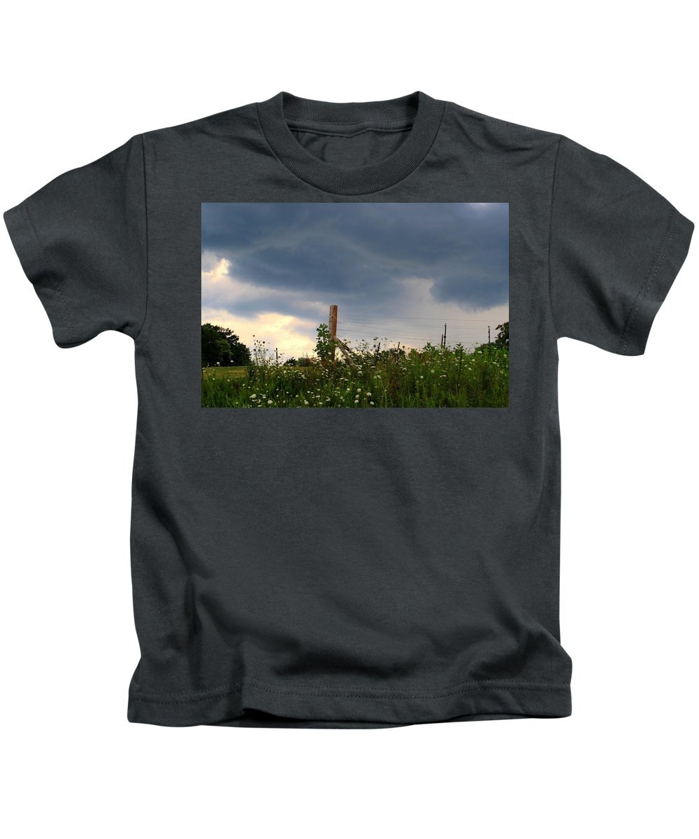 Thunderstorm Kids T-Shirt featuring the photograph Dramatic Skies by Kathryn Meyer