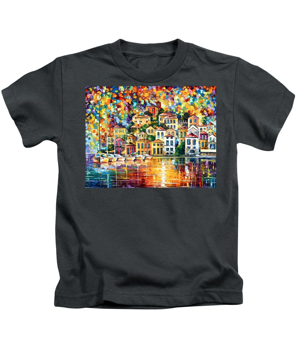 Afremov Kids T-Shirt featuring the painting Dream Harbor by Leonid Afremov