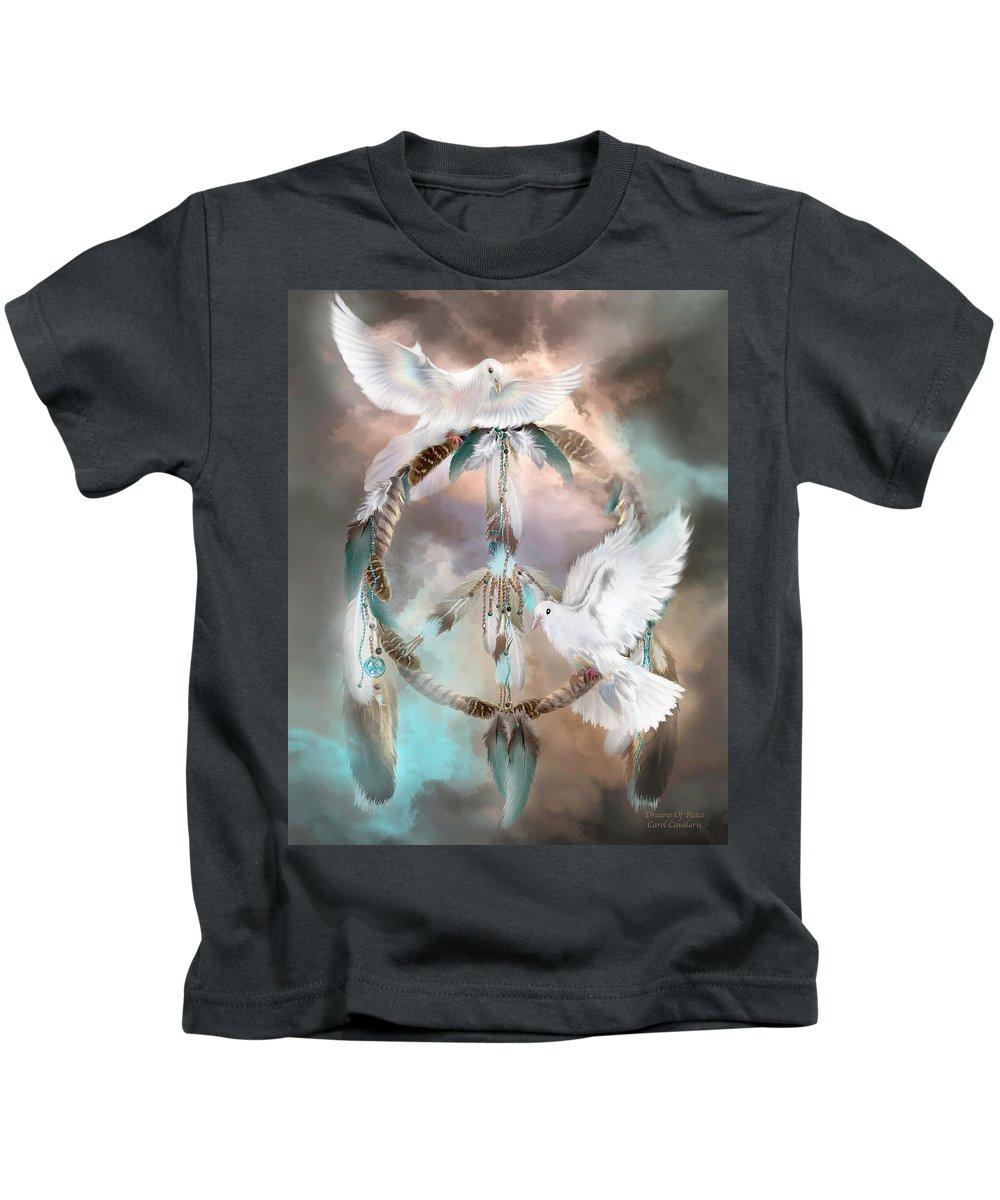 Carol Cavalaris Kids T-Shirt featuring the mixed media Dreams Of Peace by Carol Cavalaris