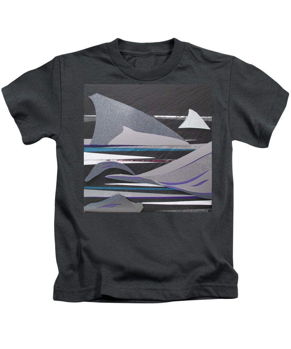 Assemblage Kids T-Shirt featuring the mixed media Drifts by Elaine Booth-Kallweit