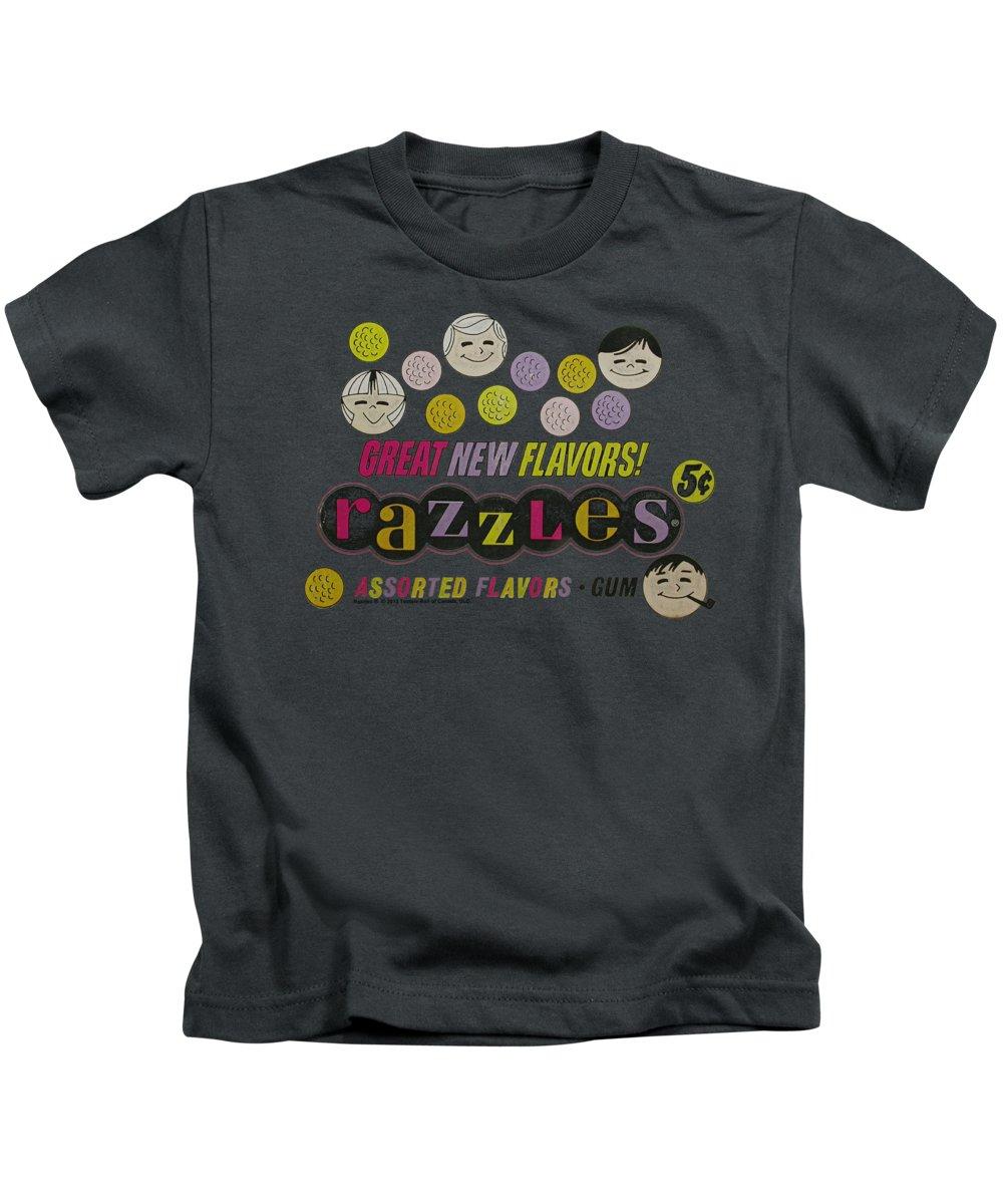 Dubble Bubble Kids T-Shirt featuring the digital art Dubble Bubble - Razzles Retro Box by Brand A