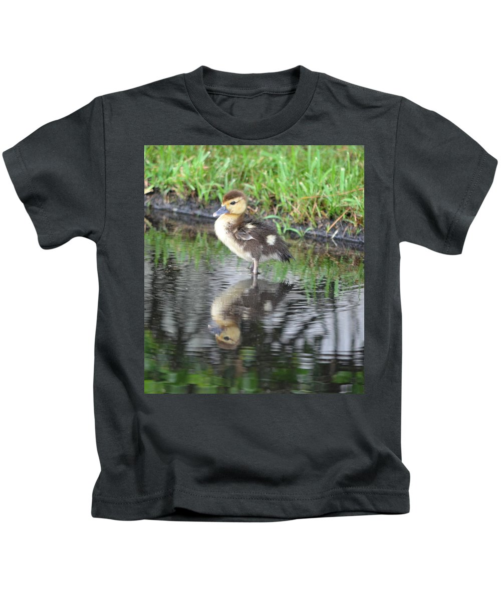 Duck Kids T-Shirt featuring the photograph Duckling With Reflection by Richard Bryce and Family