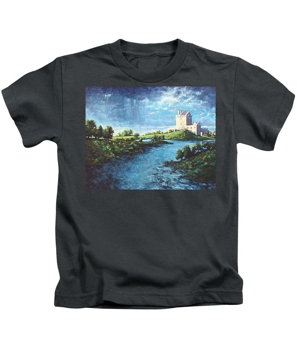 Irish Kids T-Shirt featuring the painting Dungaire Castle by Jim Gola