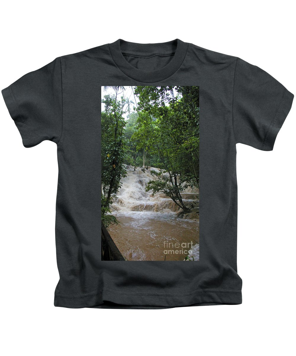 Jamaica Kids T-Shirt featuring the photograph Dunns River Falls 1 by Nancy L Marshall