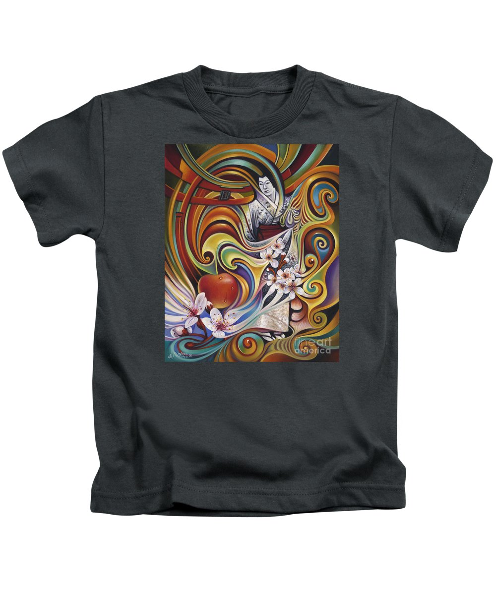 Cherry-blossoms Kids T-Shirt featuring the painting Dynamic Blossoms by Ricardo Chavez-Mendez