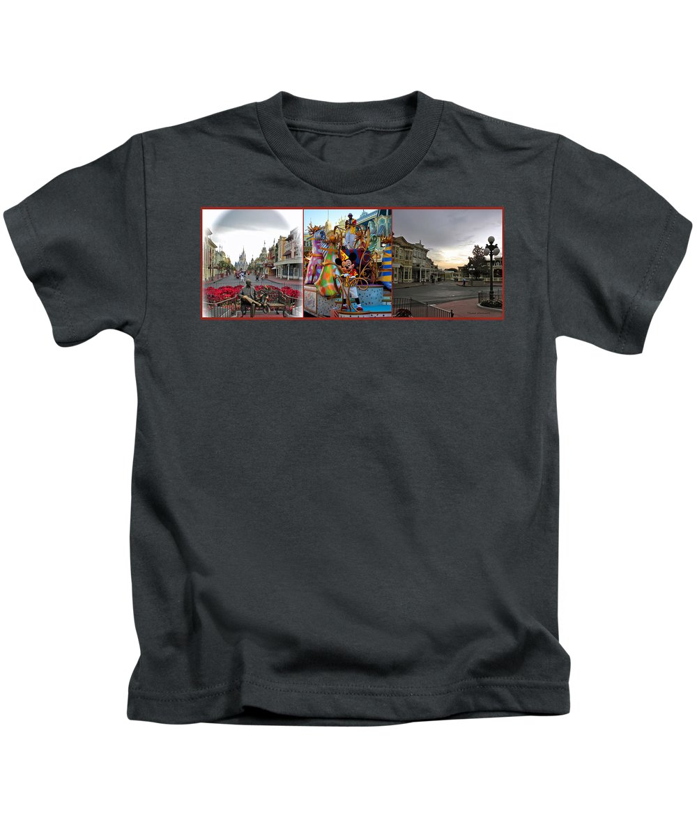 Composite Kids T-Shirt featuring the photograph Early Morning Main Street With Mickey Walt Disney World 3 Panel Composite by Thomas Woolworth