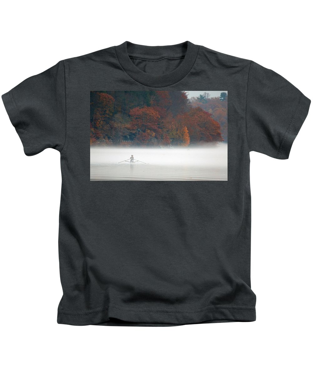 Autumn Kids T-Shirt featuring the photograph Early Morning Row by Karol Livote