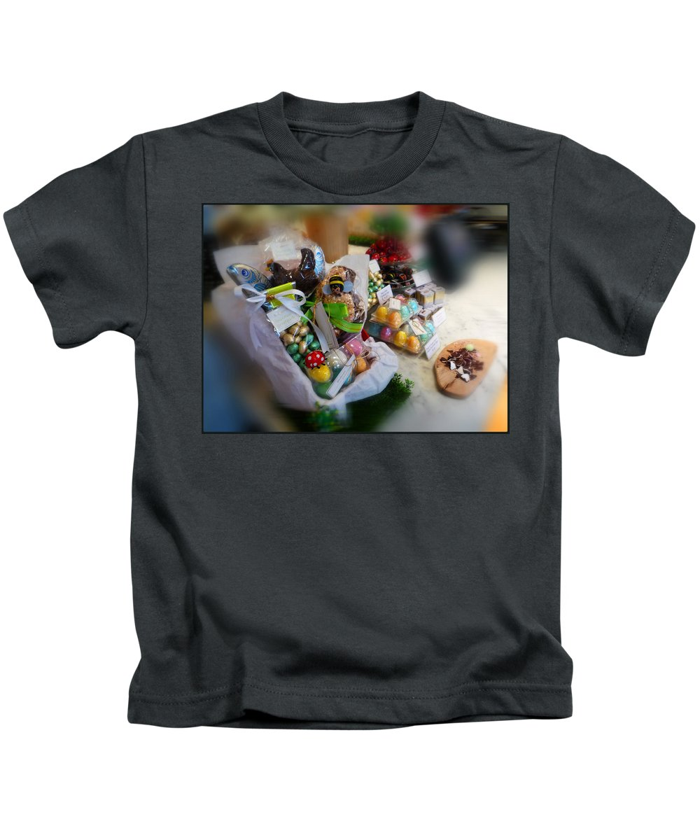 Easter Kids T-Shirt featuring the painting Easter Chocolate by Charles Stuart