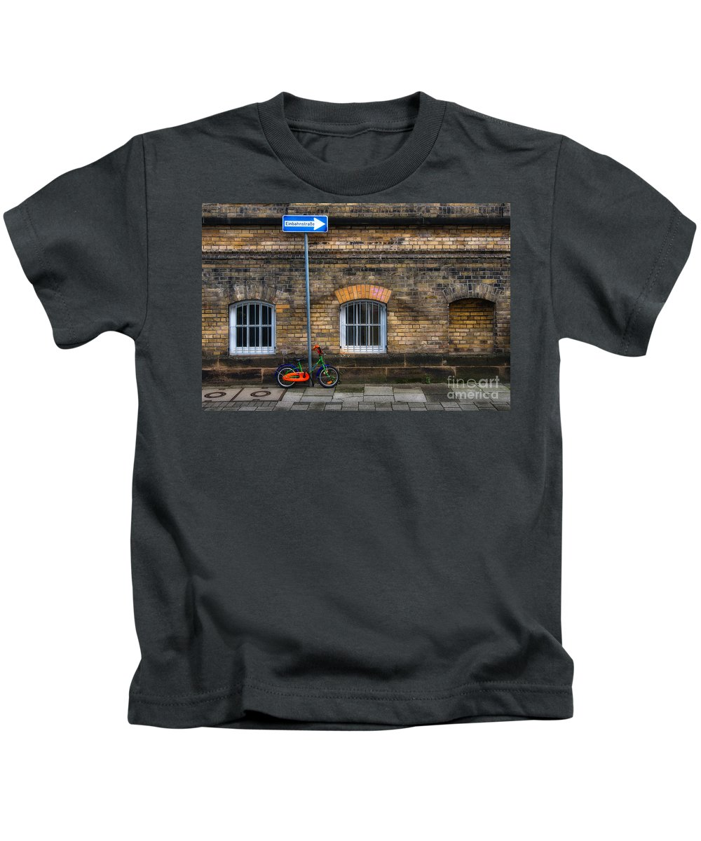 Bicycle Kids T-Shirt featuring the photograph Einbahnstrasse by Ari Salmela