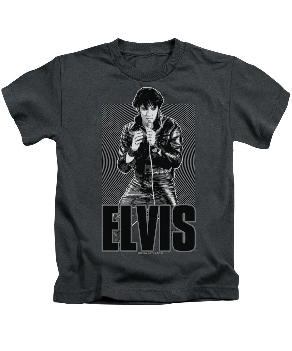 Elvis Kids T-Shirt featuring the digital art Elvis - Leather by Brand A