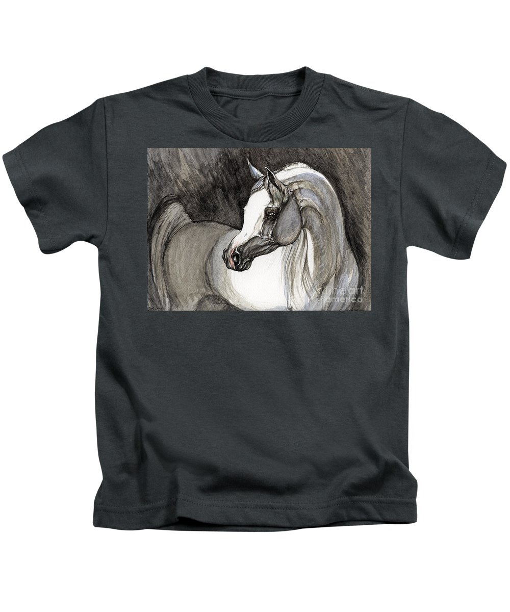 Grey Horse Kids T-Shirt featuring the painting Emerging From The Darkness by Angel Ciesniarska