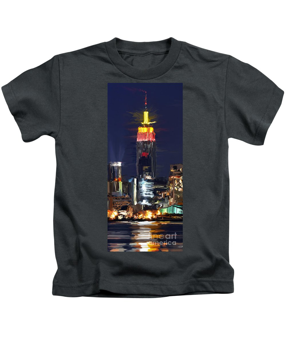 Empire State Building Kids T-Shirt featuring the painting Empire State Buidling On The Water by Tim Gilliland
