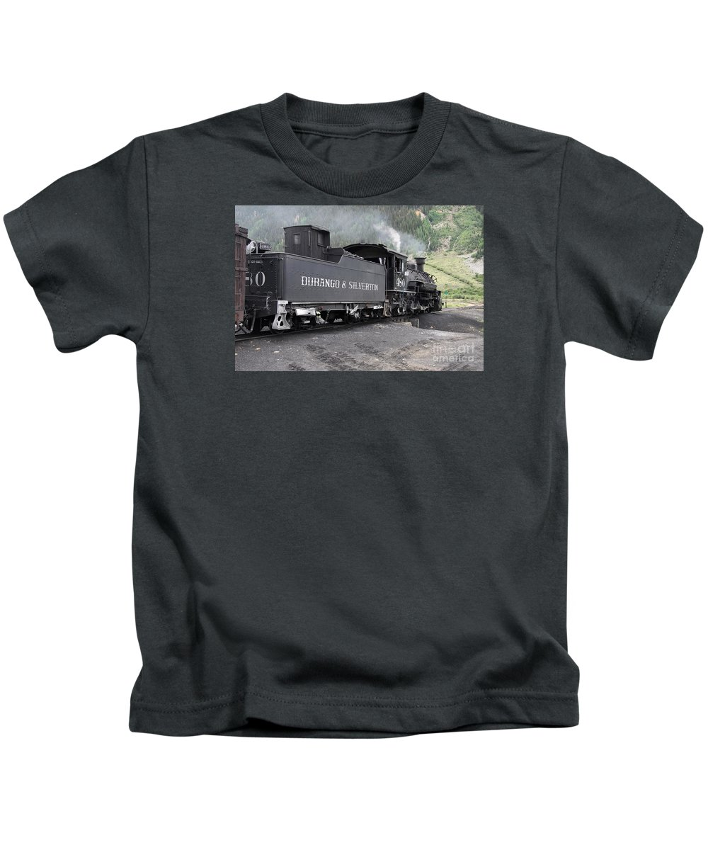 Durango And Silverton Narrow Gauge Railroad Kids T-Shirt featuring the photograph Engine 480 by Christiane Schulze Art And Photography