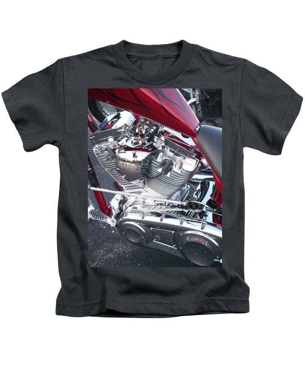 Motorcycles Kids T-Shirt featuring the photograph Engine Close-up 4 by Anita Burgermeister