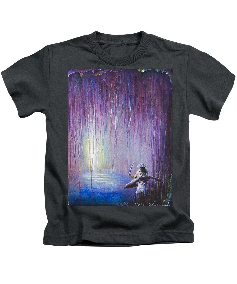 Adolescent Kids T-Shirt featuring the painting Es Vivir by Ruben Santos